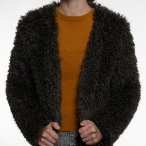Fuzzy lightweight green jacket S/M